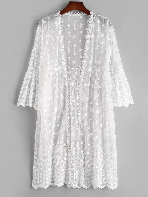 Flare Sleeve Sheer Mesh Floral Beach Cover Up
