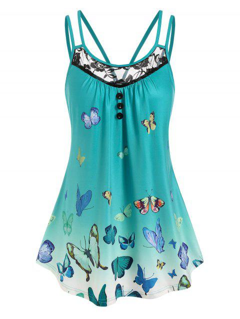 Butterfly Print Lace Panel Tank Top