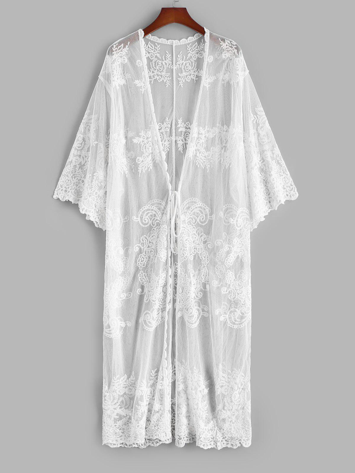 Tie Waist Plant Sheer Mesh Beach Cover Up - WHITE ONE SIZE