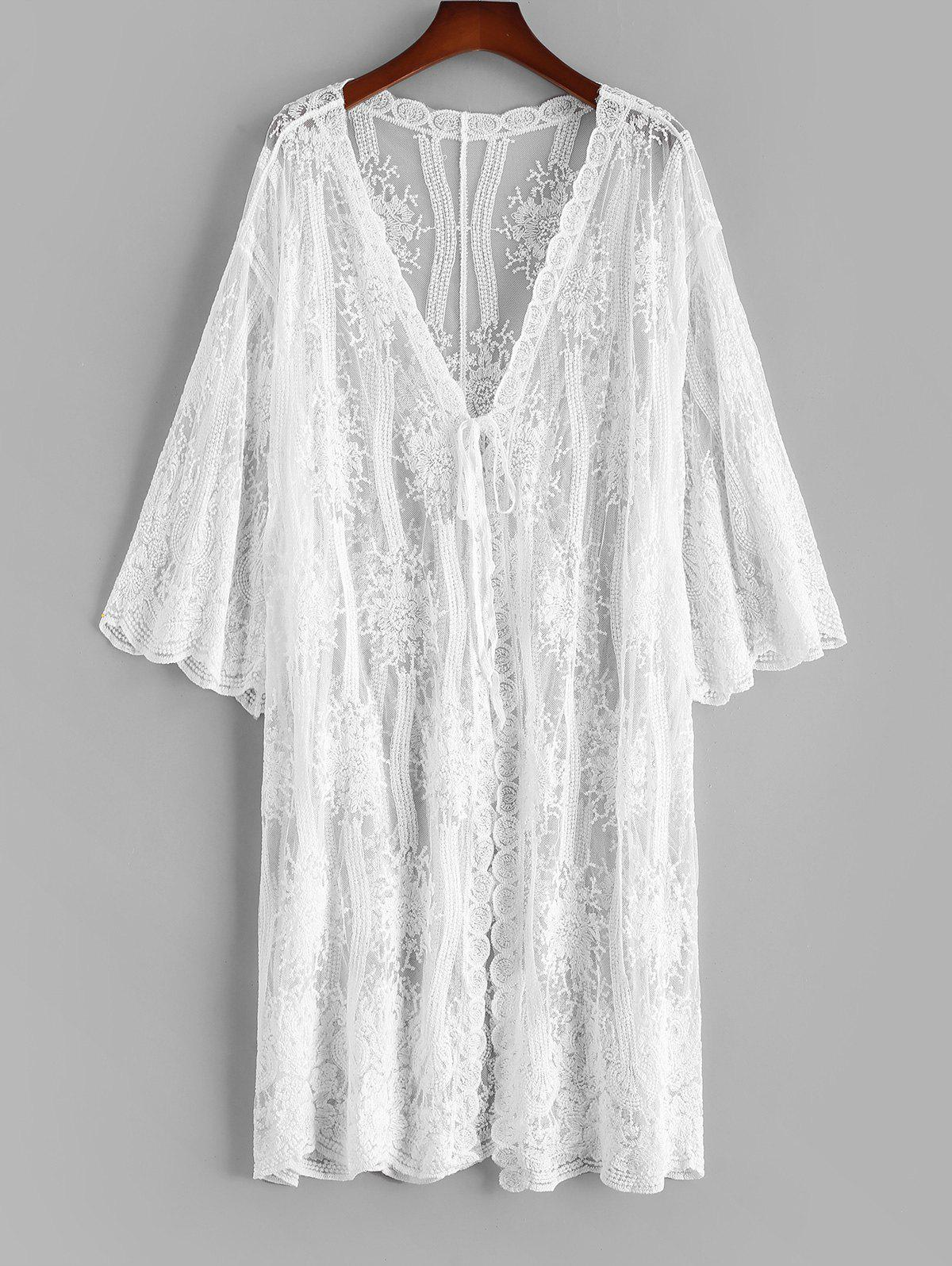 Tie Front Scalloped Sheer Lace Beach Cover Up - WHITE ONE SIZE