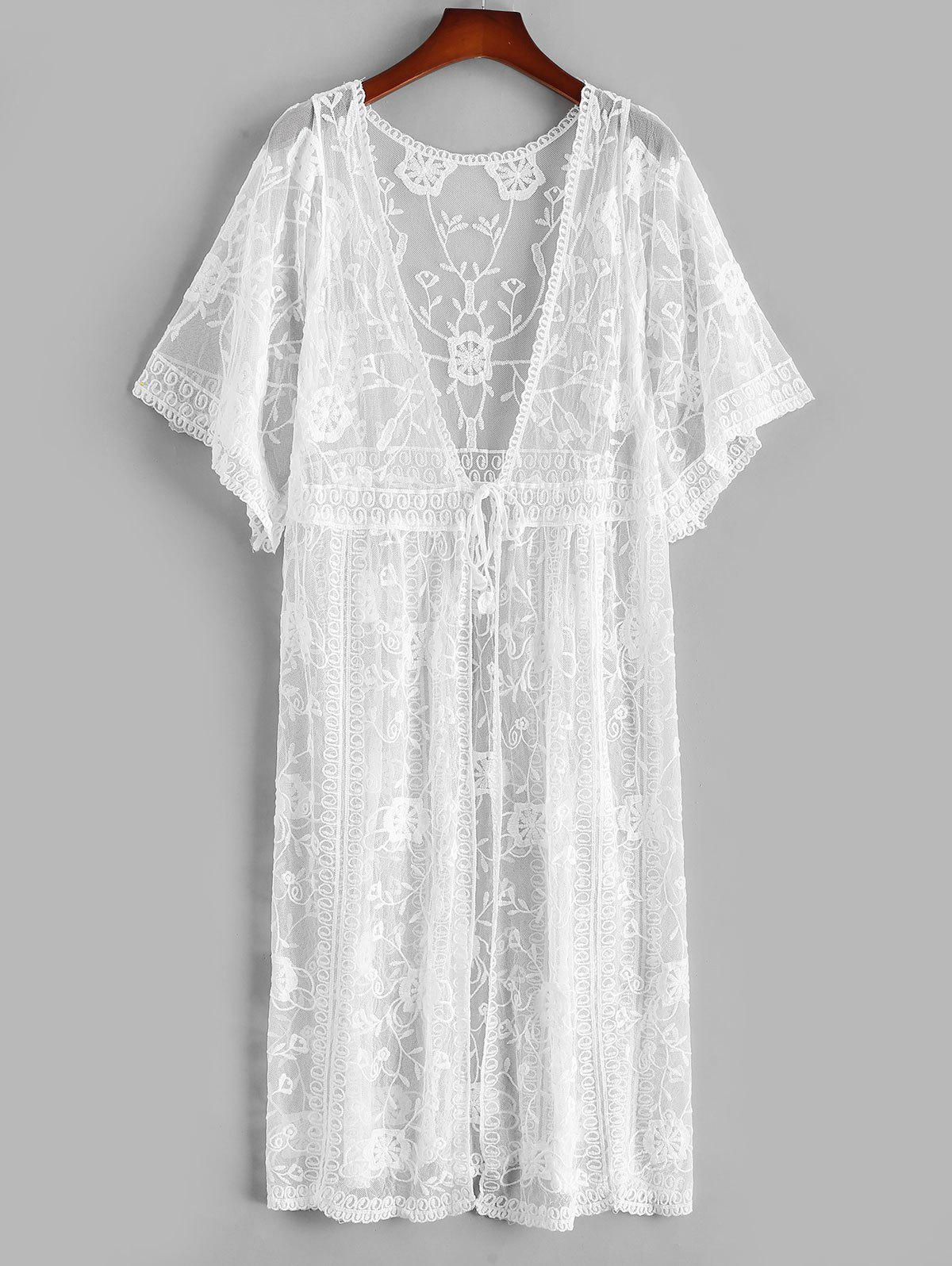 Tie Waist Sheer Lace Kimono Cover Up - WHITE ONE SIZE