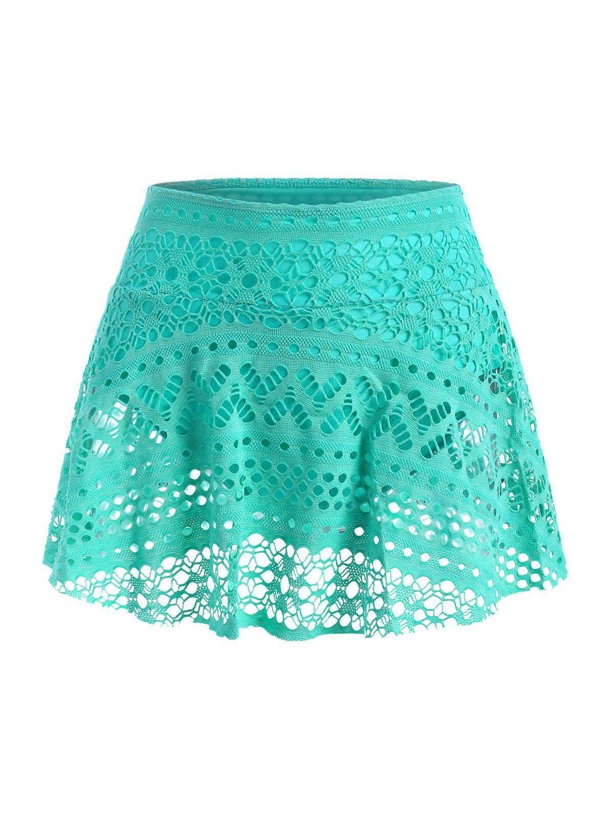Guipure Lace Plain Skirted Swim Bottom - GREEN 2XL