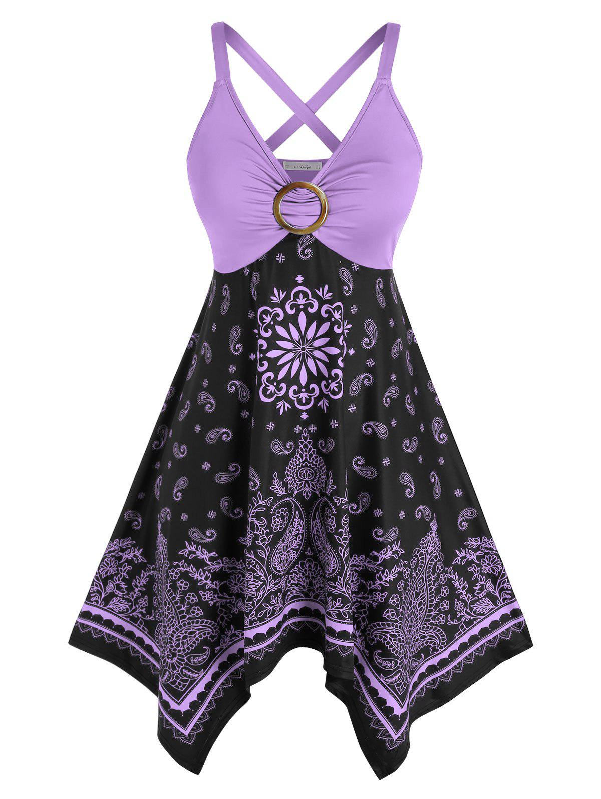 Plus Size Crisscross Tribal Paisley Print Handkerchief Dress - LIGHT PURPLE 1X