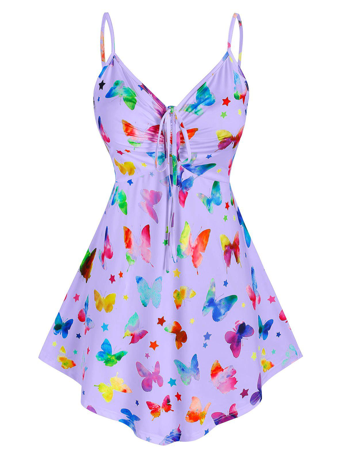 Plus Size Cinched Butterfly Print Tank Top - LIGHT PURPLE 2X