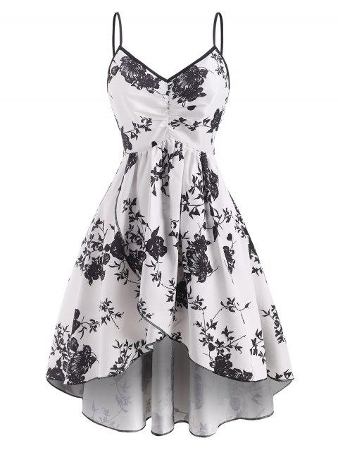 Flower Print Ruched Tulip Dress
