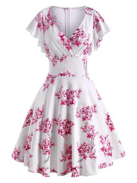 Flower Print Butterfly Sleeve Surplice Dress