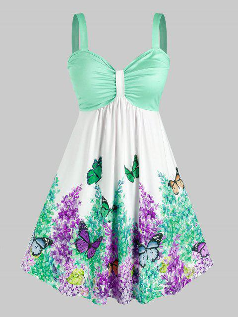 Plus Size Ruched Floral Butterfly Print Dress