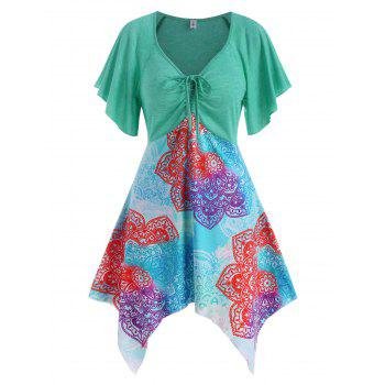 Cinched Ruched Printed Asymmetrical Tunic Top