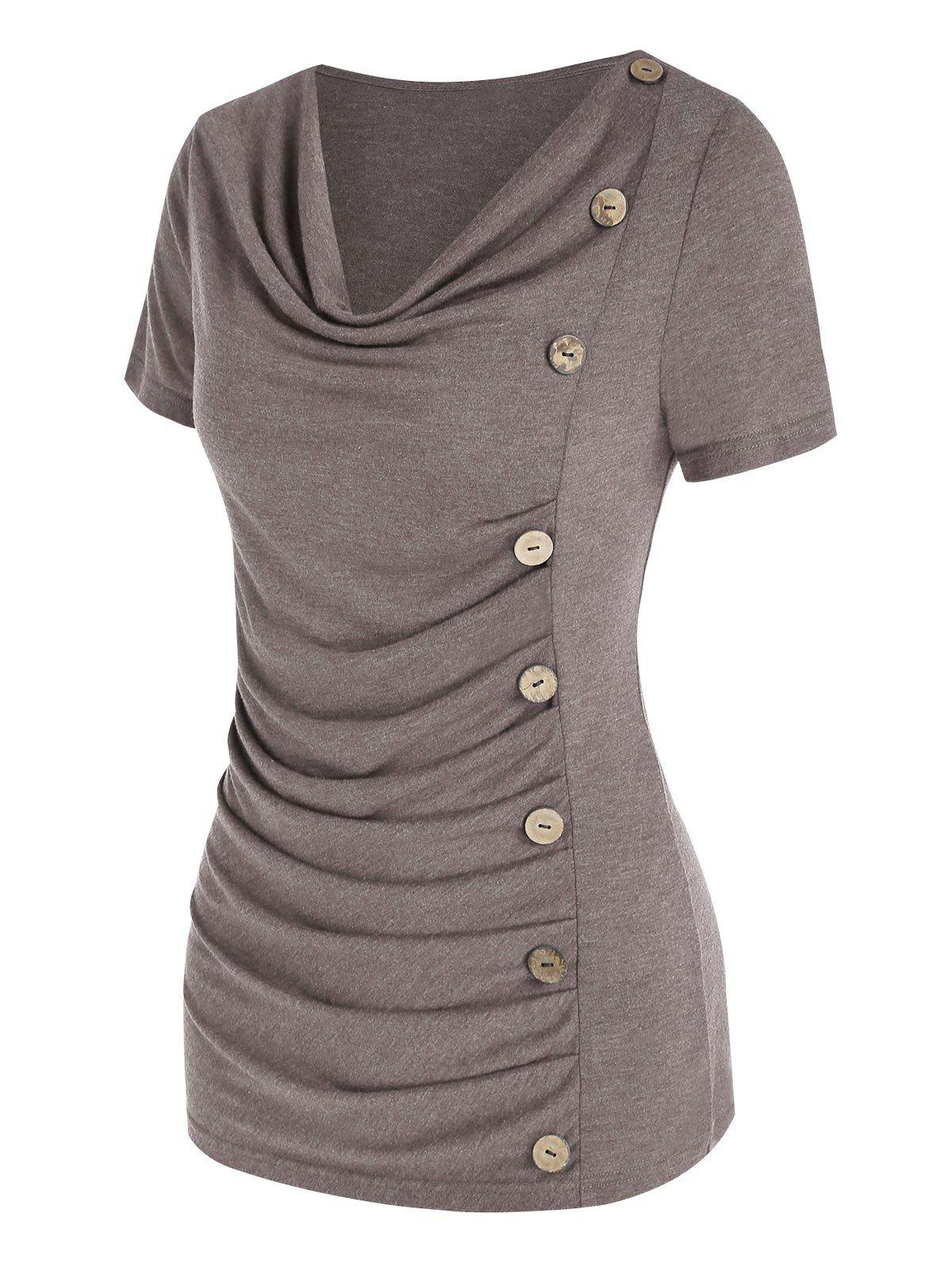 Cowl Neck Ruched Button Asymmetrical T Shirt - LIGHT COFFEE S