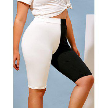Plus Size Bicolor Half and Half High Rise Biker Shorts