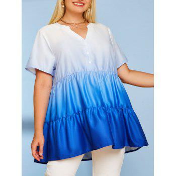 Tiered Ombre Button Front Plus Size Top
