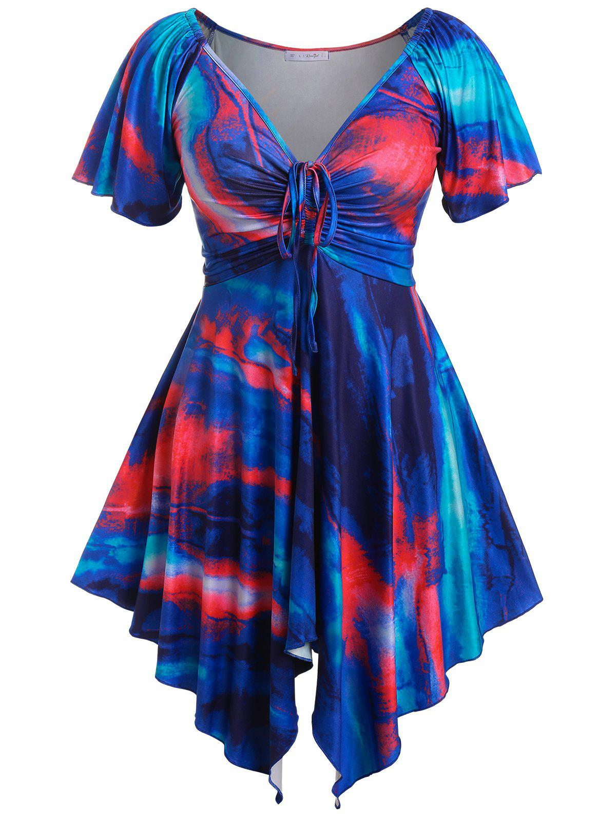 Plus Size Raglan Sleeve Tie Dye Handkerchief Dress - BLUE L