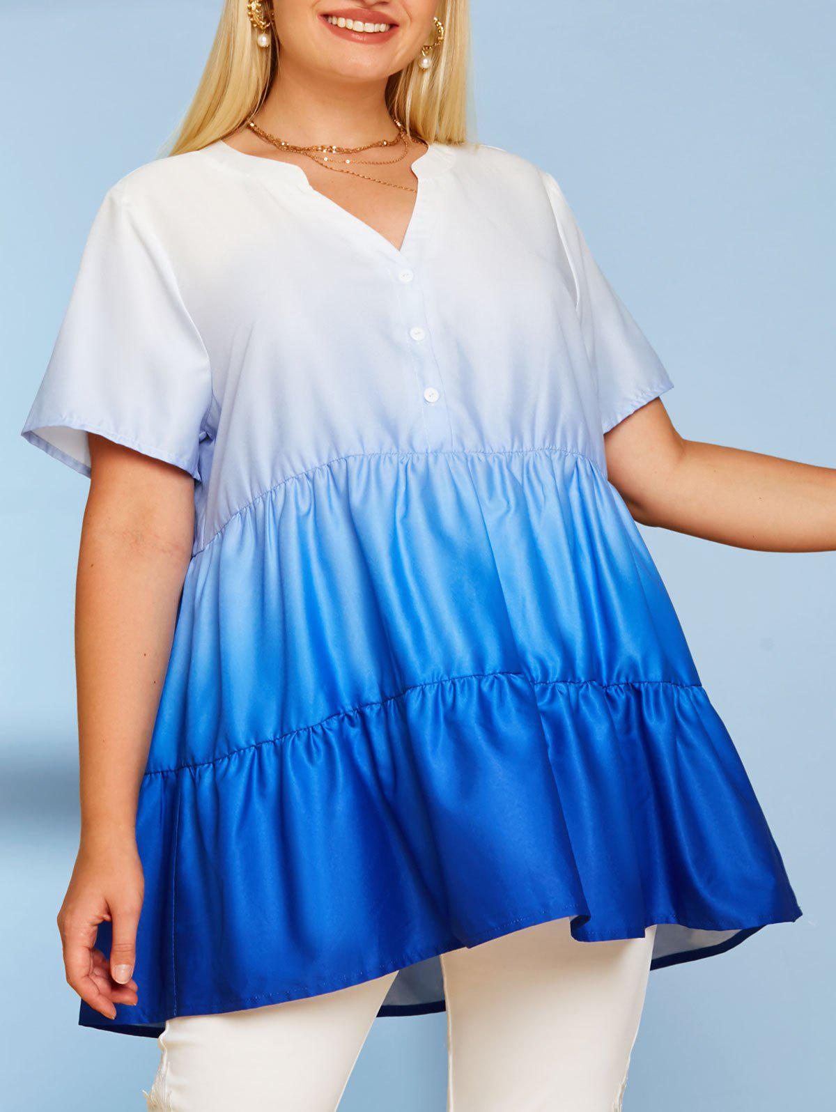 Tiered Ombre Button Front Plus Size Top - BLUE 5X