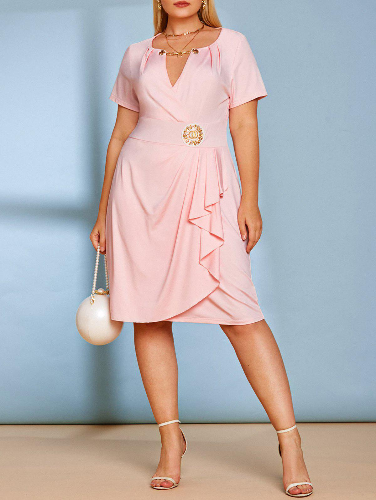Plus Size Plunge Chains Knee Length Dress - LIGHT PINK 5X