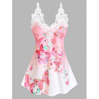 Floral Butterfly Print Lace Insert Tank Top