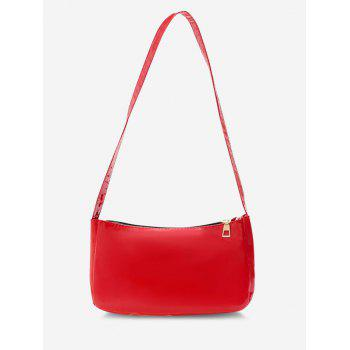 Faux Patent Leather Shoulder Bag - RED