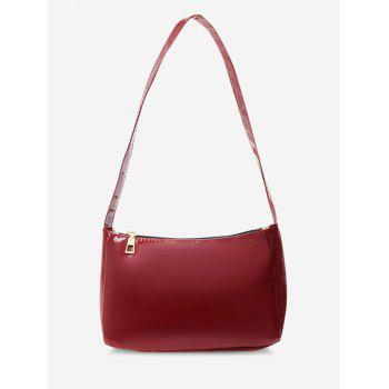Faux Patent Leather Shoulder Bag - RED WINE