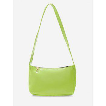 Faux Patent Leather Shoulder Bag - GREEN YELLOW