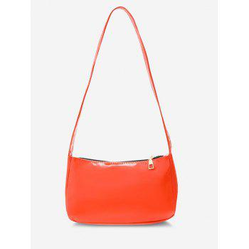 Faux Patent Leather Shoulder Bag - BEAN RED