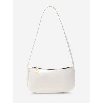 Solid Faux Patent Leather Shoulder Bag - WHITE