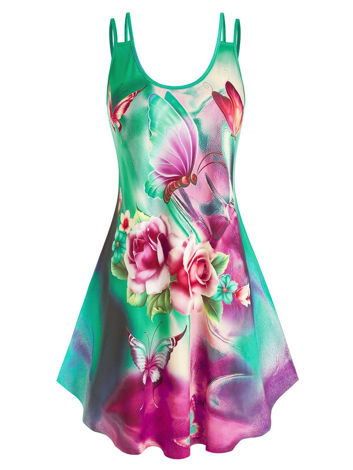 Plus Size Multicolored Flower Printed Dress - GREEN L