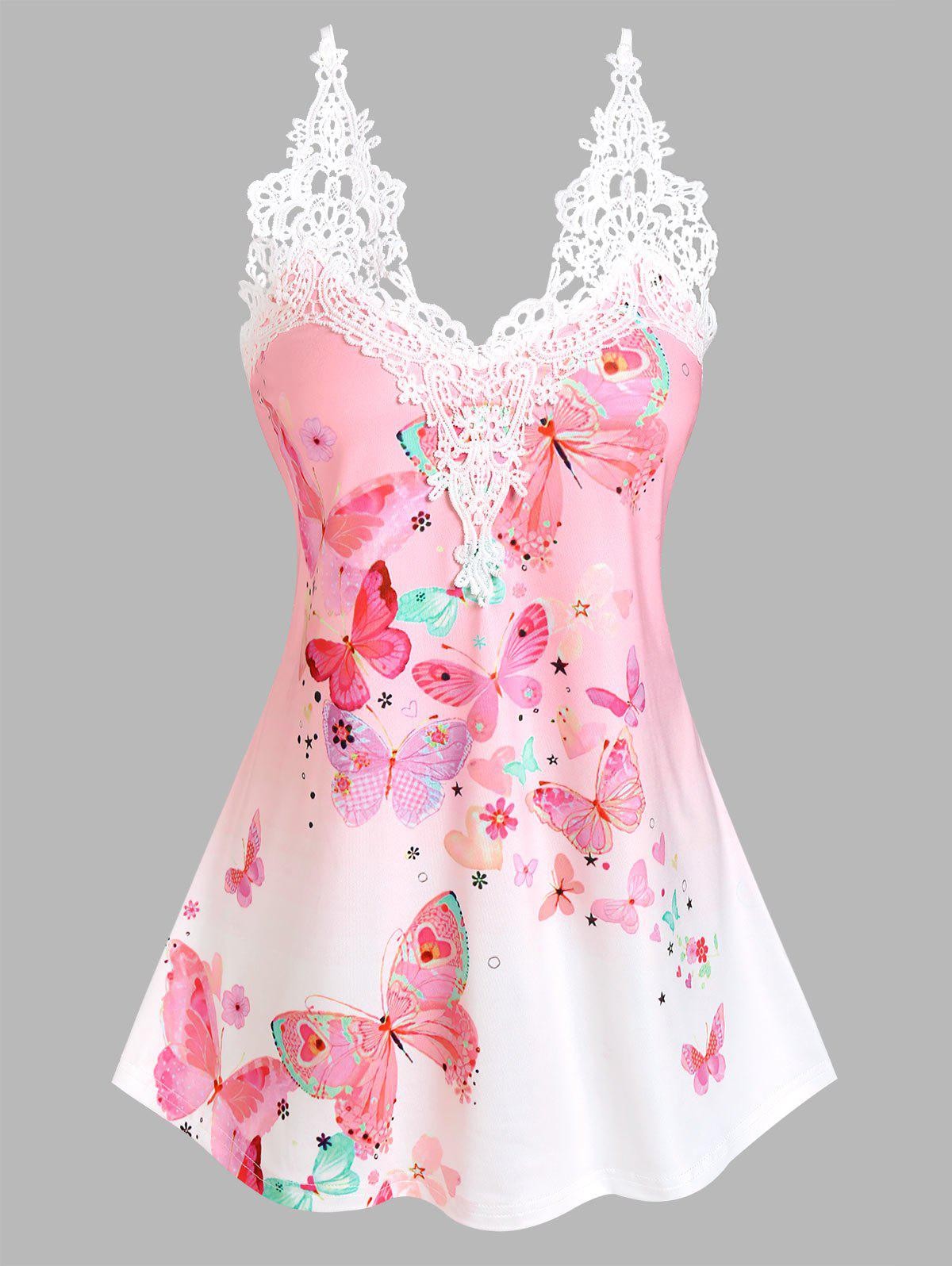 Floral Butterfly Print Lace Insert Tank Top - LIGHT PINK S