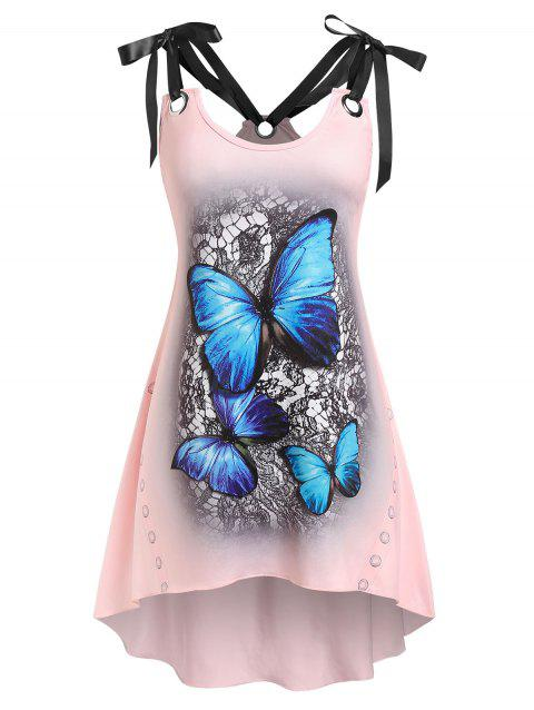 Plus Size Strappy Tie Shoulder Butterfly Print Irregular Tank Top