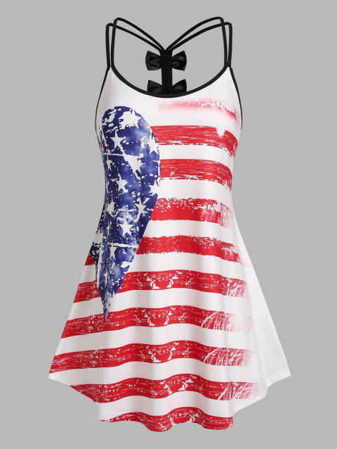 Plus Size Distressed American Flag Bowknot Cutout Tank Top