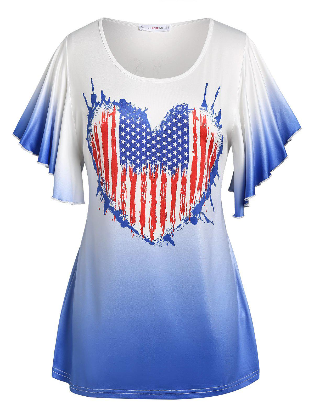 Plus Size Ombre Color American Flag Print Tee - WHITE L