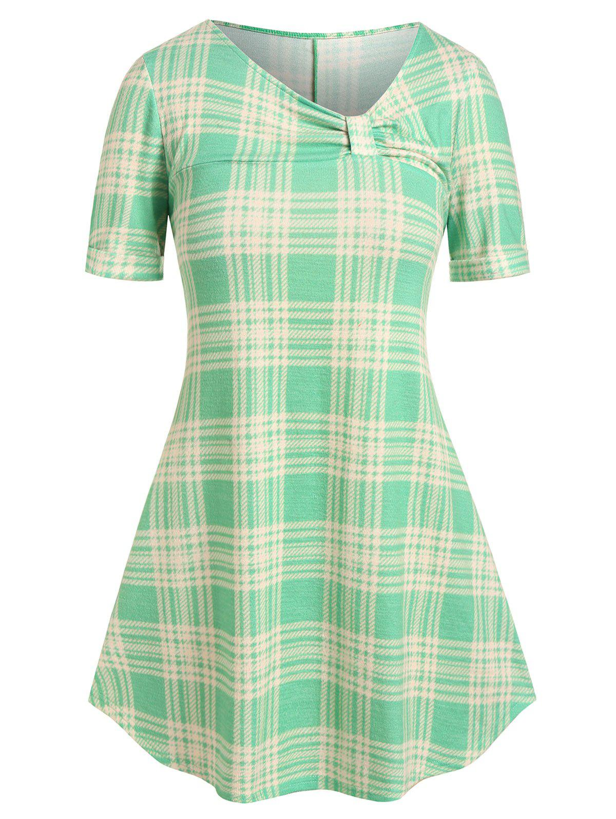 Plus Size Asymmetrical Neck Plaid Knotted T Shirt - GREEN 2X