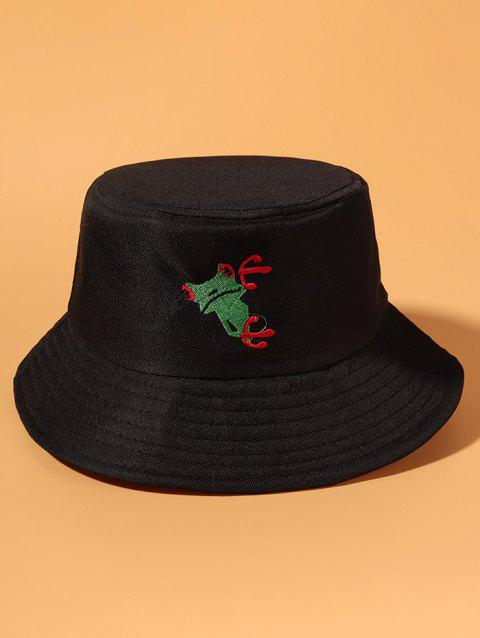 Frog Embroidered Casual Bucket Hat