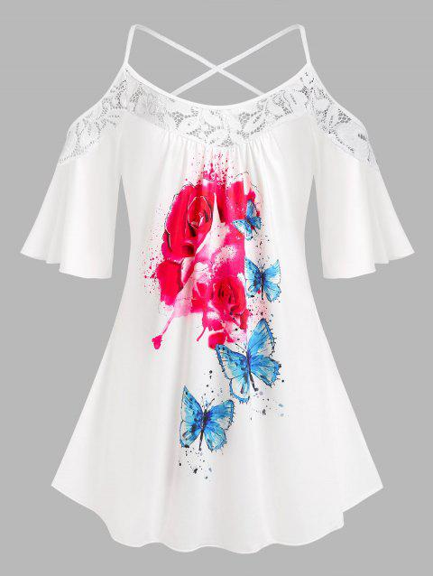 Plus Size Cold Shoulder Floral Butterfly Print Tee