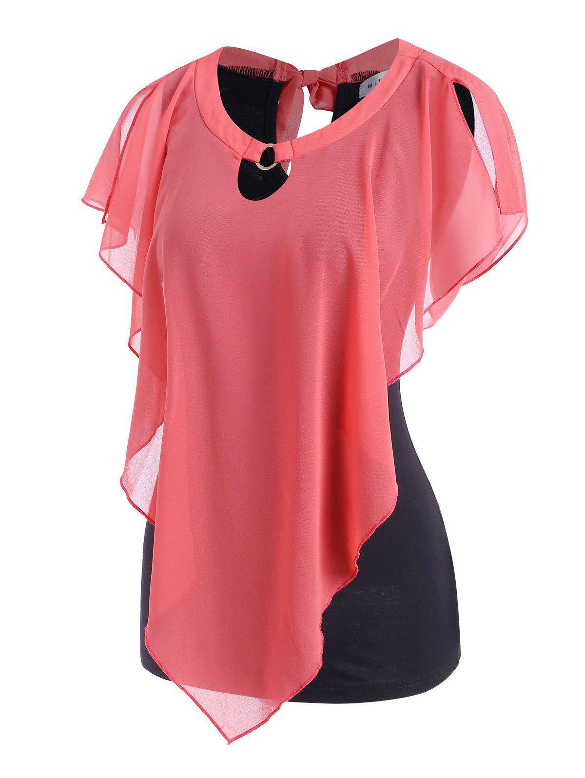 Colorblock O Ring Tie Back Top - LIGHT PINK XL