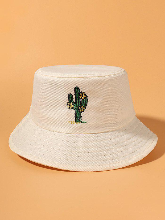 Cactus Embroidered Casual Bucket Hat - BEIGE