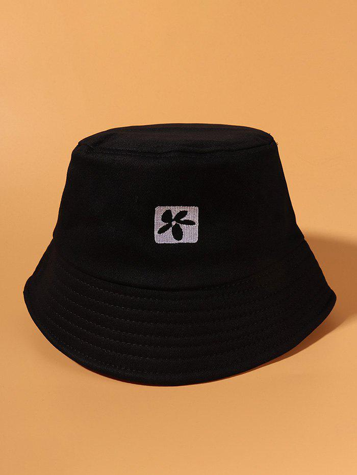 Flower Embroidered Casual Bucket Hat - BLACK