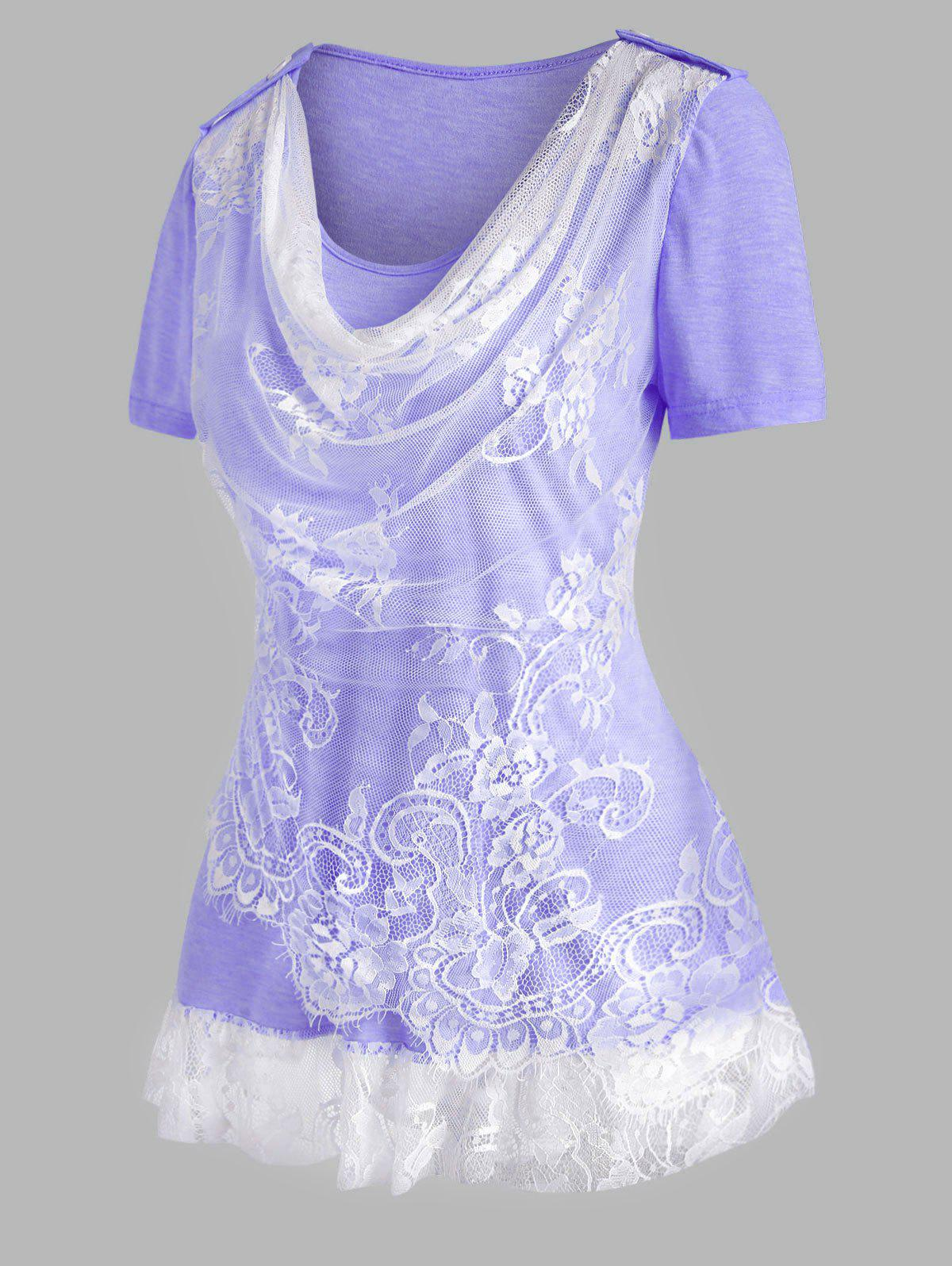 Cowl Front Lace Insert Ruffle Hem T Shirt - LIGHT PURPLE XXXL
