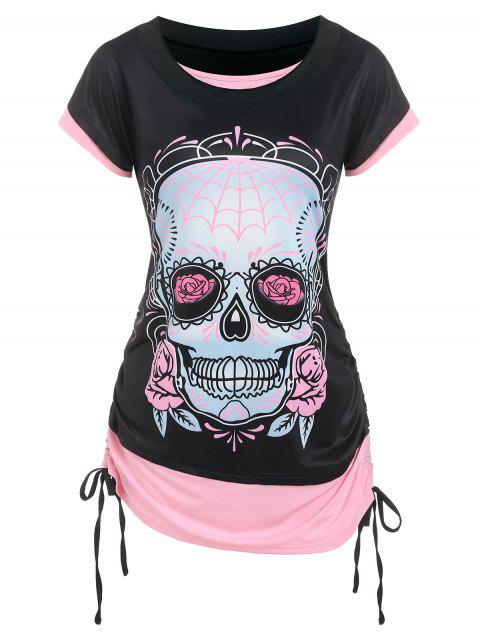 Skull Flowers Print Cinched Contrast Faux Twinset T-shirt