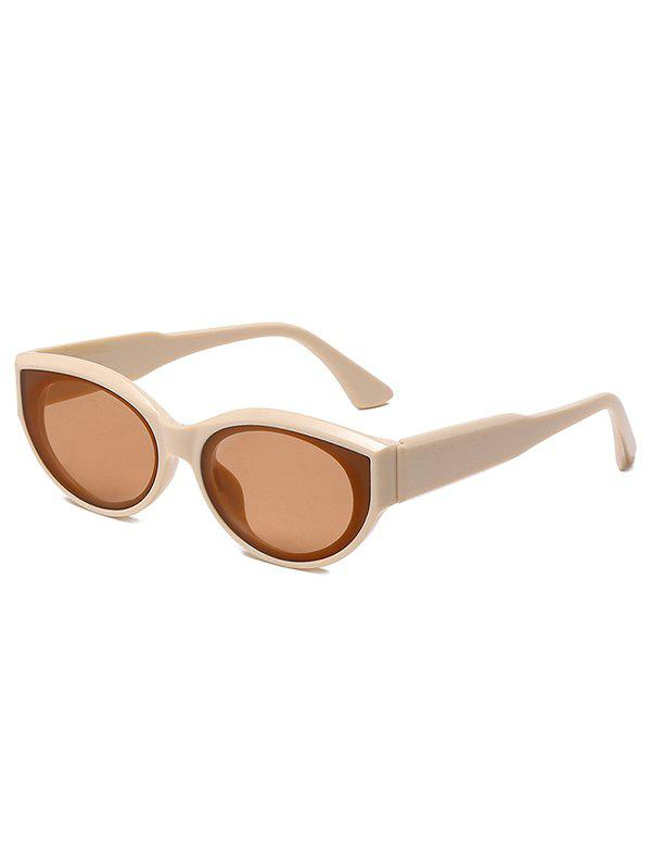 Oval Frame Wide Temple Sunglasses - BEIGE