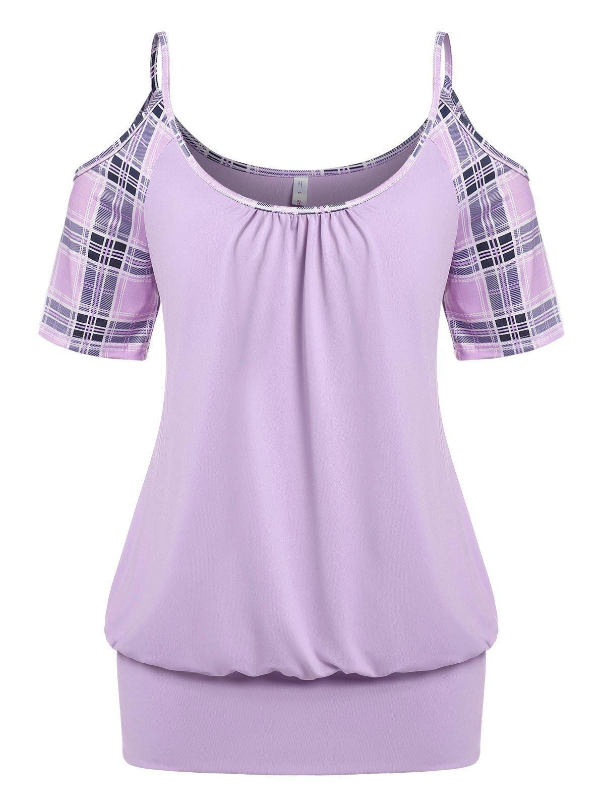 Plus Size Plaid Open Shoulder Blouson T-shirt - LIGHT PURPLE 5X