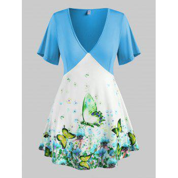 Plus Size Butterfly Floral Short Sleeve Plunge Tee