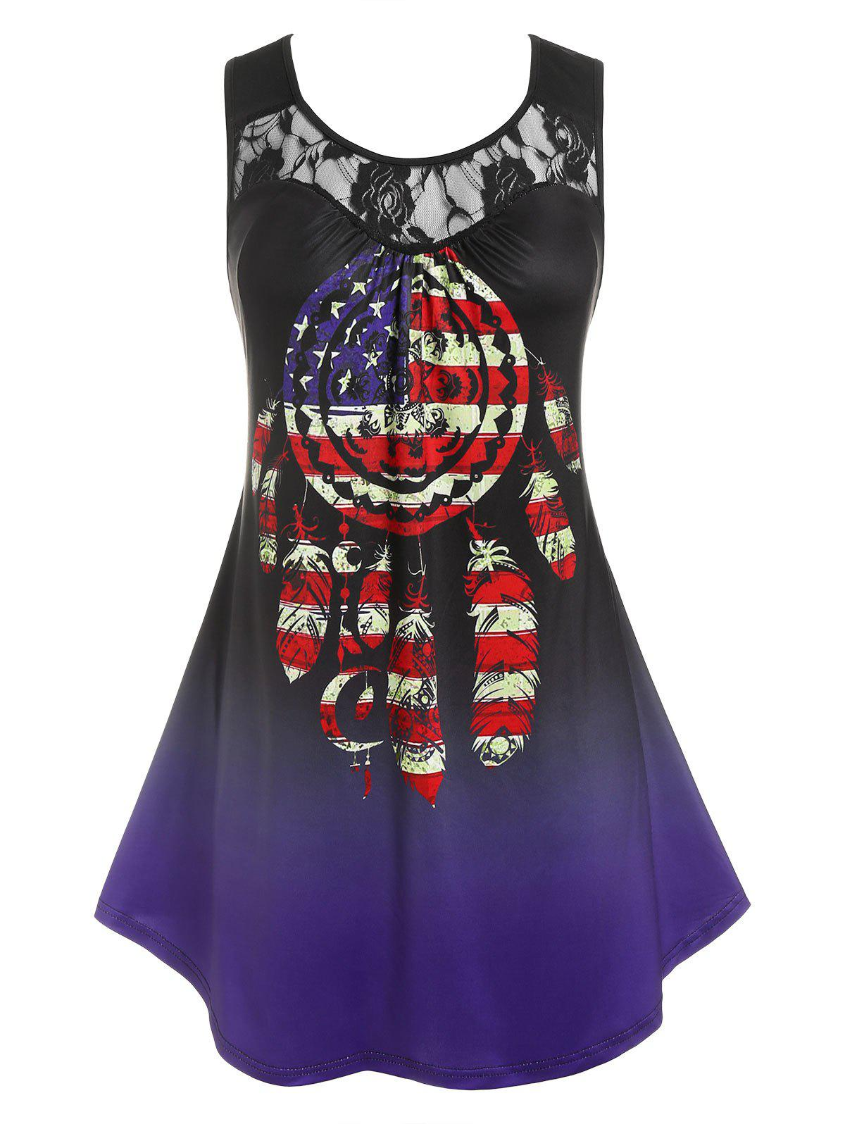 Plus Size American Flag Print Lace Panel Tank Top - DEEP BLUE 2X