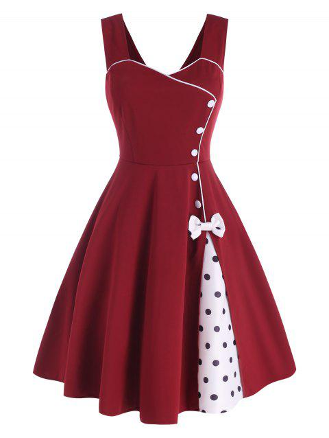 Polka Dot Bowknot Mock Button Slit Dress