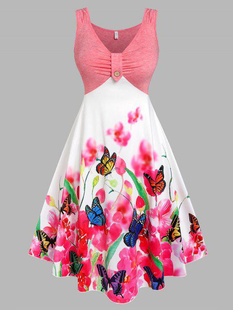 Plus Size Ruched Butterfly Floral Print Dress