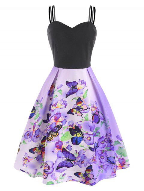 Floral Butterfly Ombre Dual Strap Flared Cami Dress