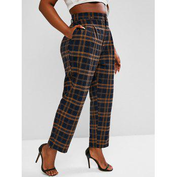 Plus Size High Waisted Plaid Print Tapered Pants
