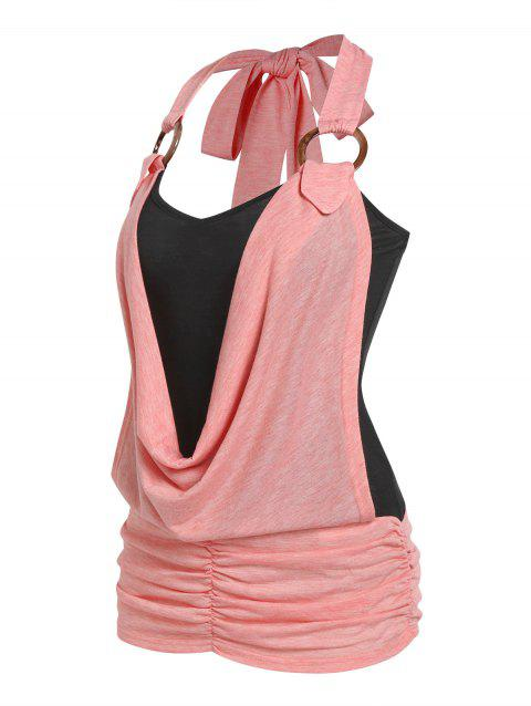 Cowl Front O Ring Faux Twinset Tank Top