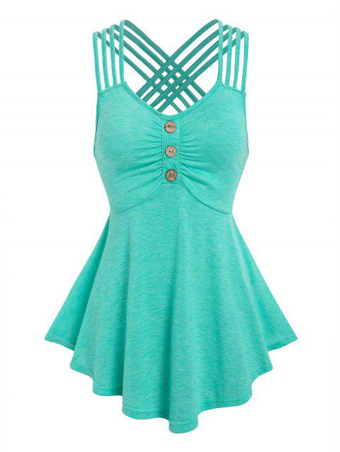 Crisscross Strappy Ruched Tank Top