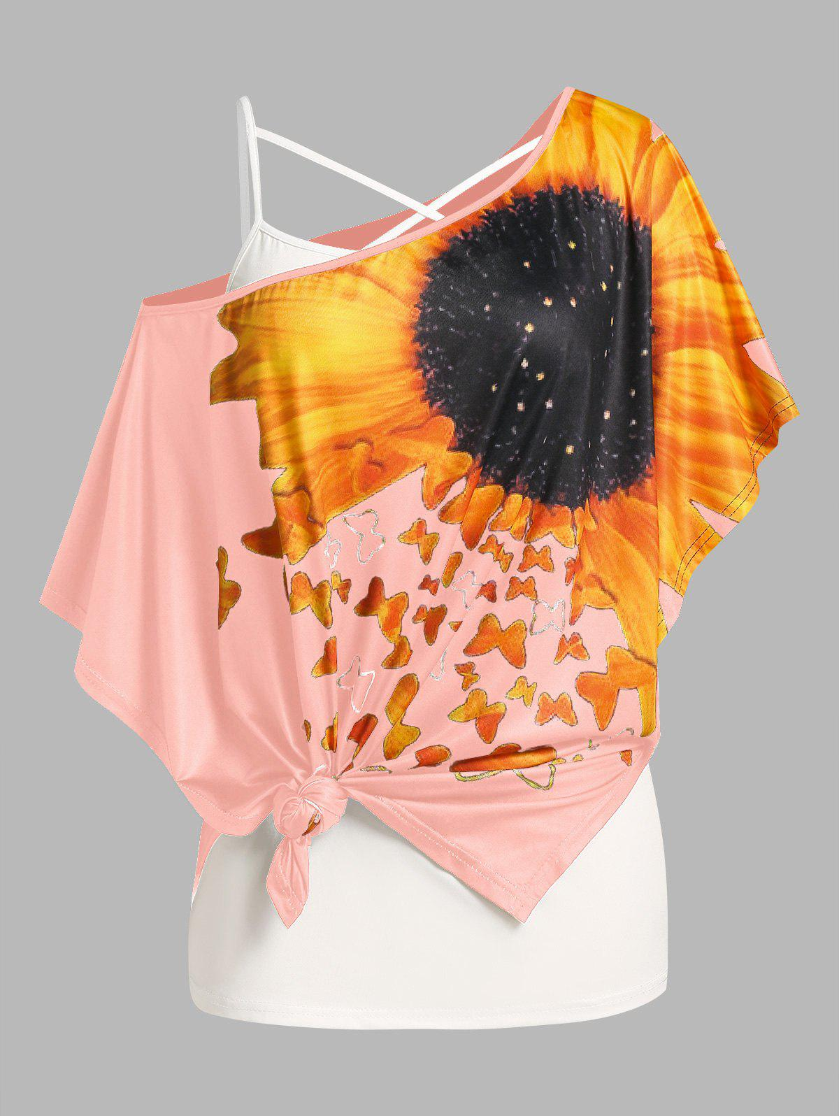 Plus Size Sunflower Print Batwing Sleeve Tee and Camisole Set - LIGHT PINK L