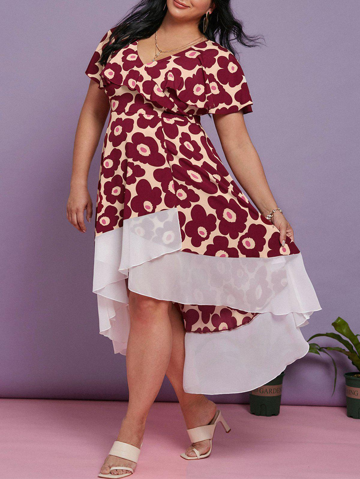 Plus Size Floral Print Ruffle High Low Maxi Dress - DEEP RED 5X