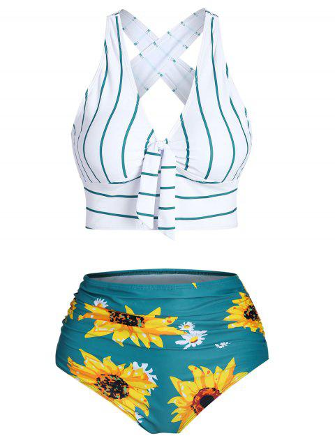 Sunflower Striped Criss Cross Tummy Control Bikini Swimwear